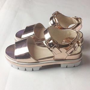Shelly's London Platform Rose Gold Sandal